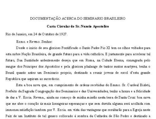Carta do Núncio Apostólico para fundação do Colégio Pio Brasileiro